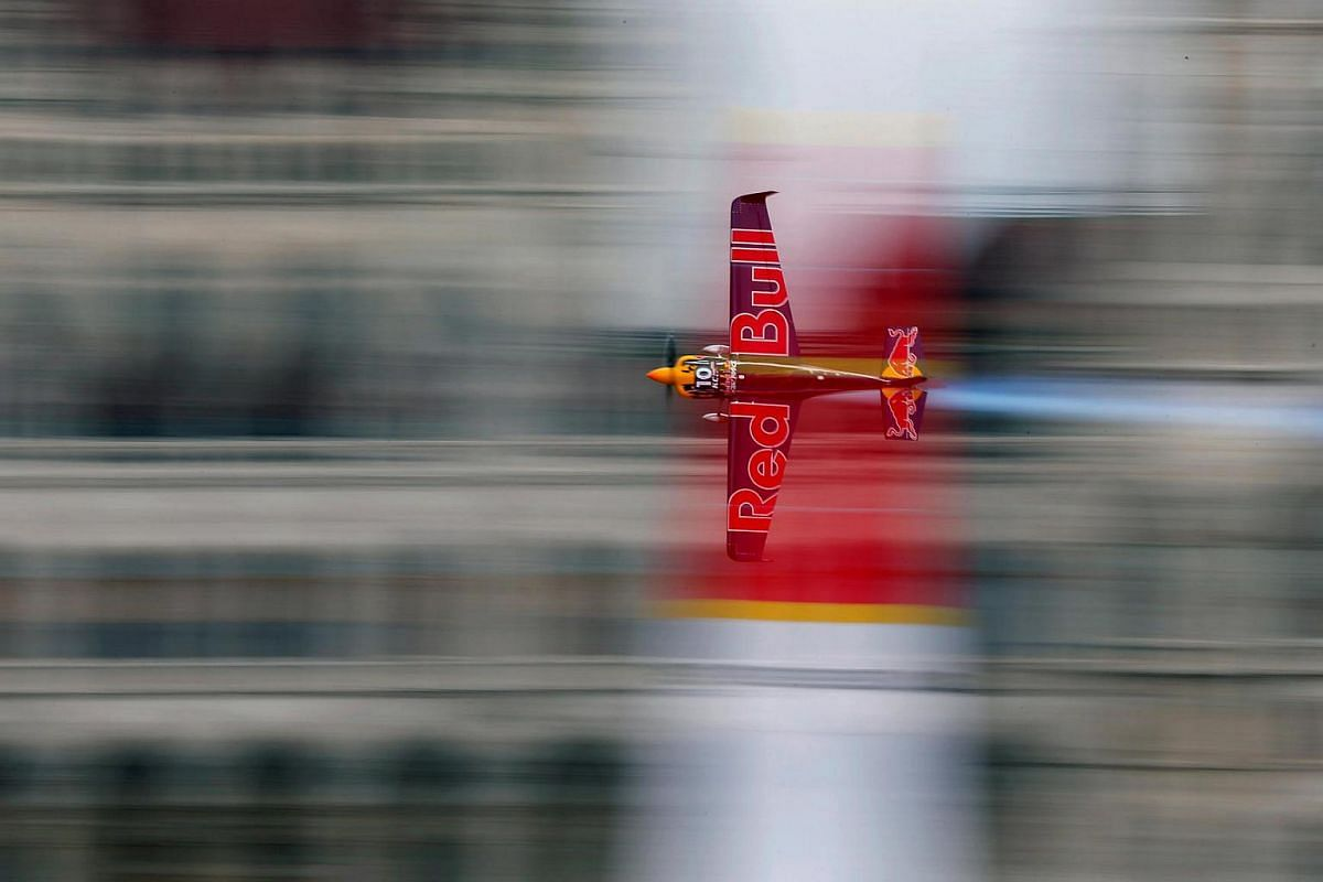 US pilot Kirby Chambliss flies with his Edge 540 V3 aircraft during the Red Bull Air Race World Championship in Budapest, Hungary, on July 17.