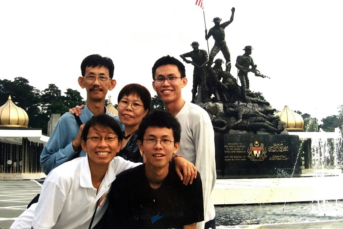 My life so far: Toh with his family (above) – father Toh Ser Chong, mother Margaret Chua Chwee Hoon, younger sister Meixuan and younger brother Yixue – in a photo taken in the 1990s.