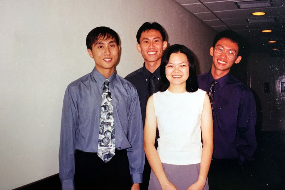 My life so far: Toh (back centre) with members of the NUS Piano Ensemble in the early 1990s.