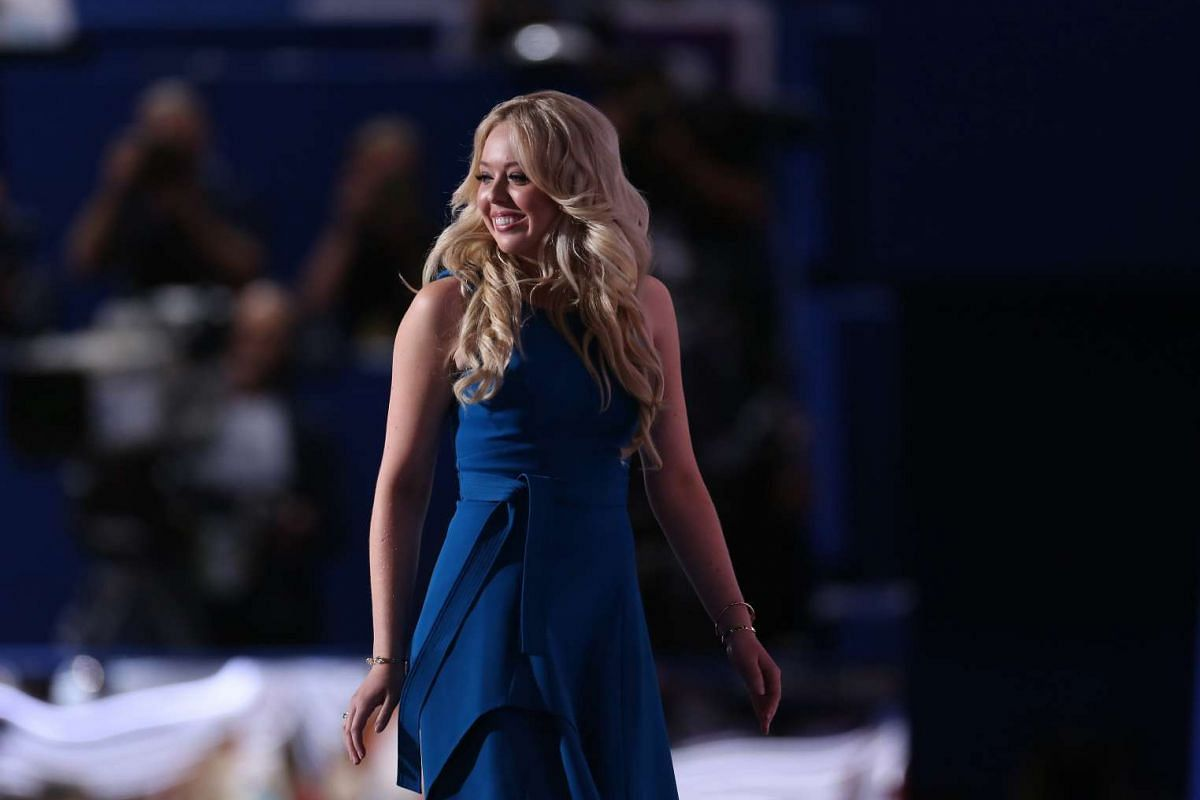 Tiffany Trump, daughter of Republican Presidential Nominee Donald Trump, exits after speaking during the Republican National Convention (RNC) in Cleveland, Ohio, on July 19.