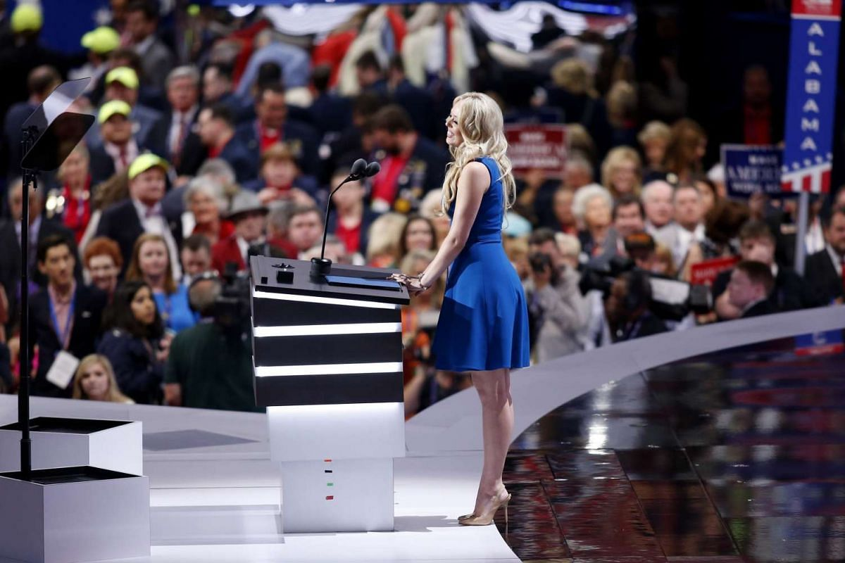 Donald Trump's daughter Tiffany speaks during the second day of the Republican National Convention in Cleveland, Ohio, on July 19.