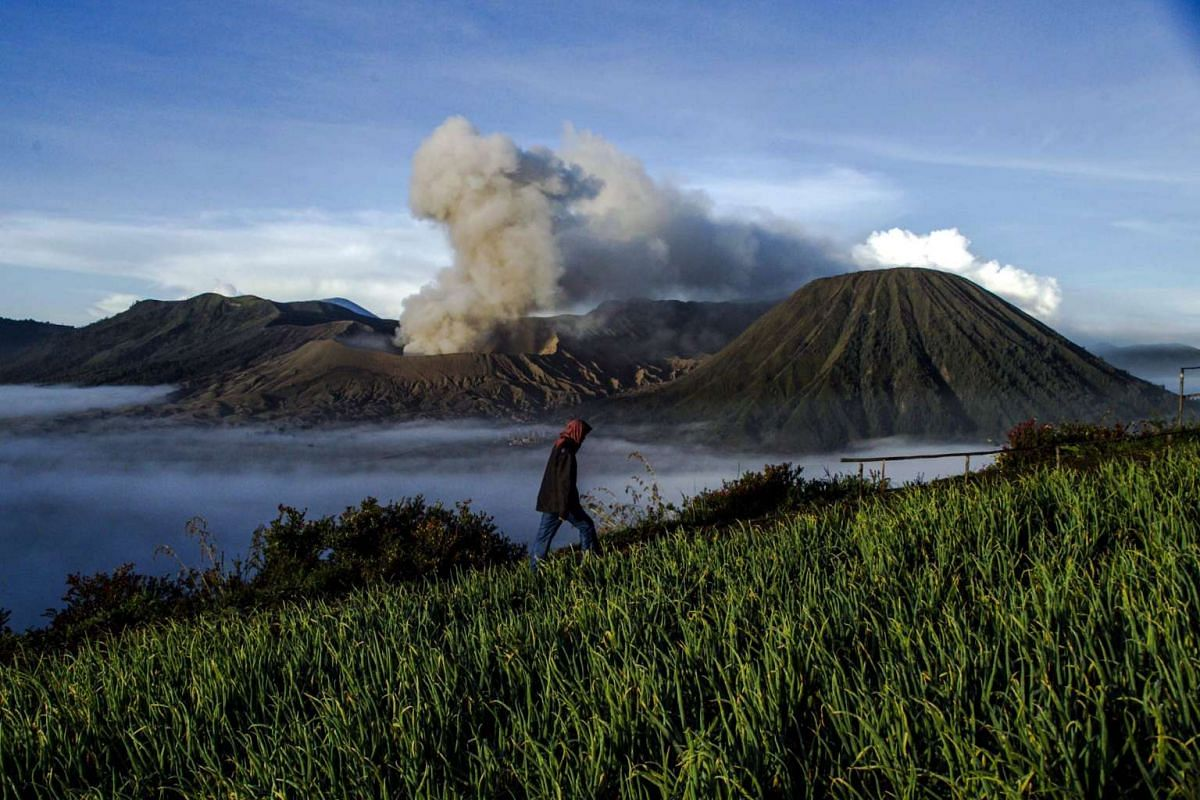 A man walks at a field as Mount Bromo spews ashes into the air during a volcanic eruption ahead of the Hindus Kasada ceremony in Probolinggo, East Java, Indonesia on July 20, 2016.