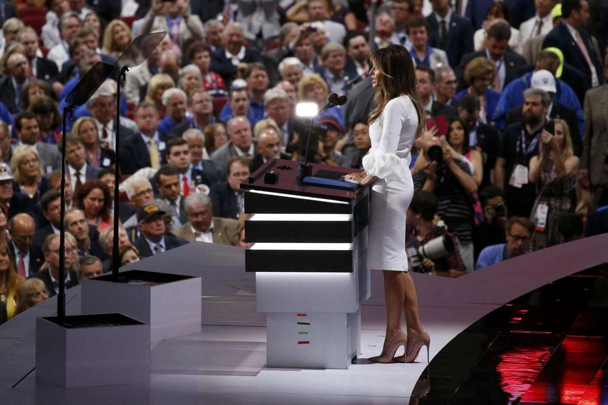 Melania Trump, wife of Republican presidential candidate Donald Trump, speaks at the Republican National Convention in Cleveland, Ohio, on July 18.