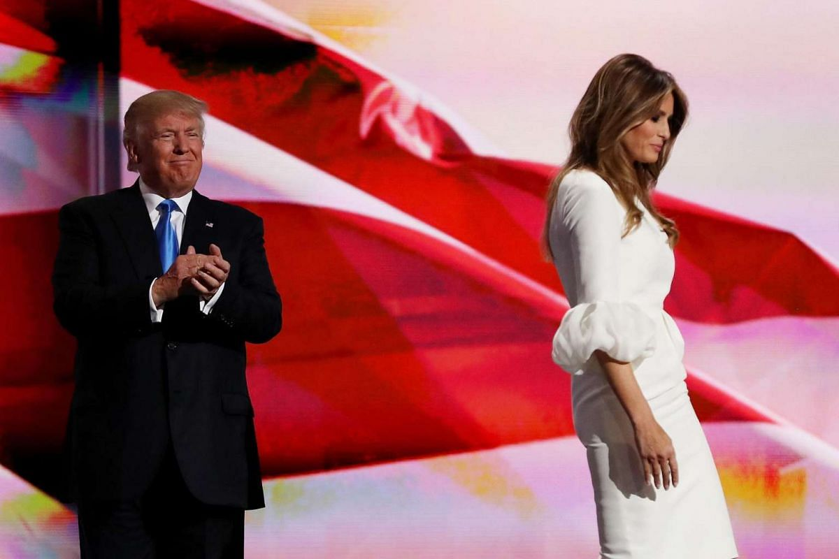 Republican presidential nominee Donald Trump introduces his wife Melania on the first day of the Republican National Convention on July 18, at the Quicken Loans Arena in Cleveland, Ohio.