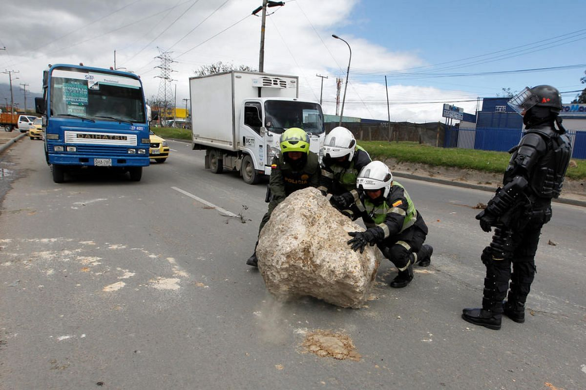 Truck drivers block a highway in Bogota, Colombia, on July 20.