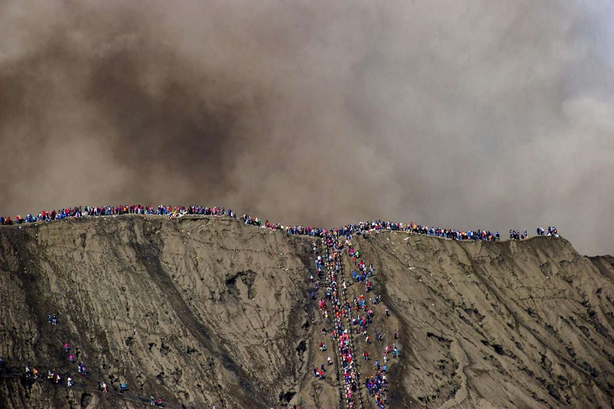 A general view of worshippers gathering at the crater of Mount Bromo during the Yadnya Kasada Festival in Probolinggo, East Java, Indonesia on July 20, 2016.