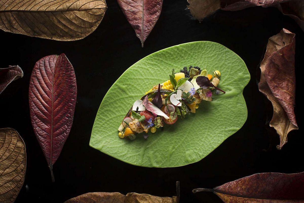 Jason's Botonica, a presentation of seasonal vegetables and fruit, at Jason Tan's Cornerhouse.