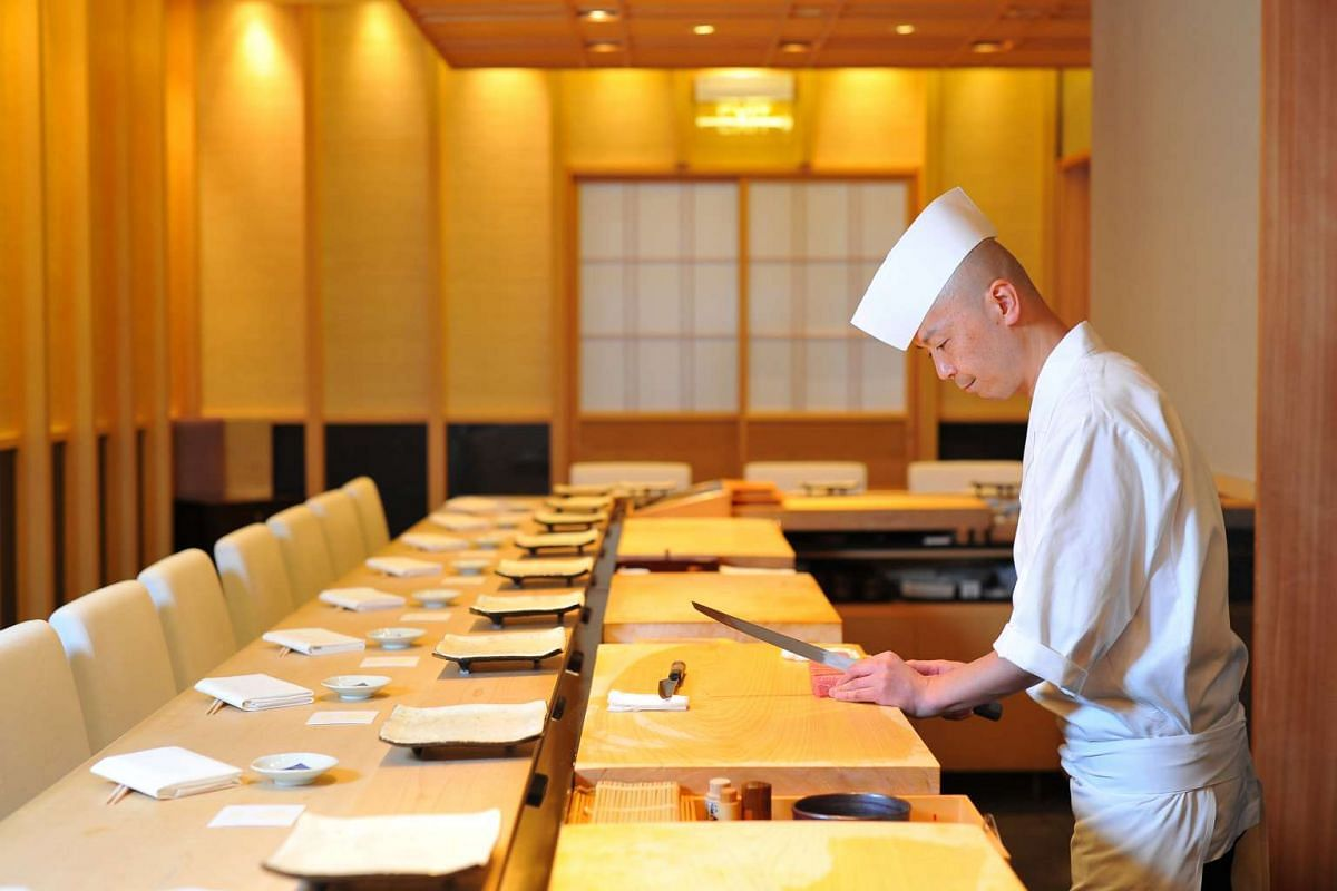 Master chef Koichiro Oshino at Shinji by Kanesaka at Raffles Hotel Arcade.