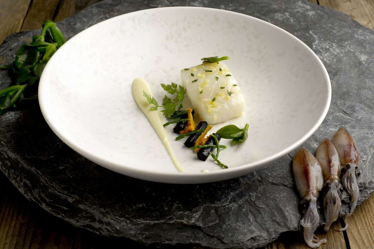 Confit Brittany Cod - and sous vide cod with crisp black squid ink tuile - from Jaan.