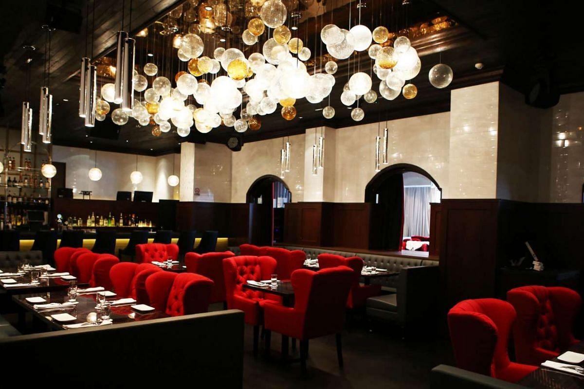 Interior view of Bacchanalia, a restaurant in Coleman Street.
