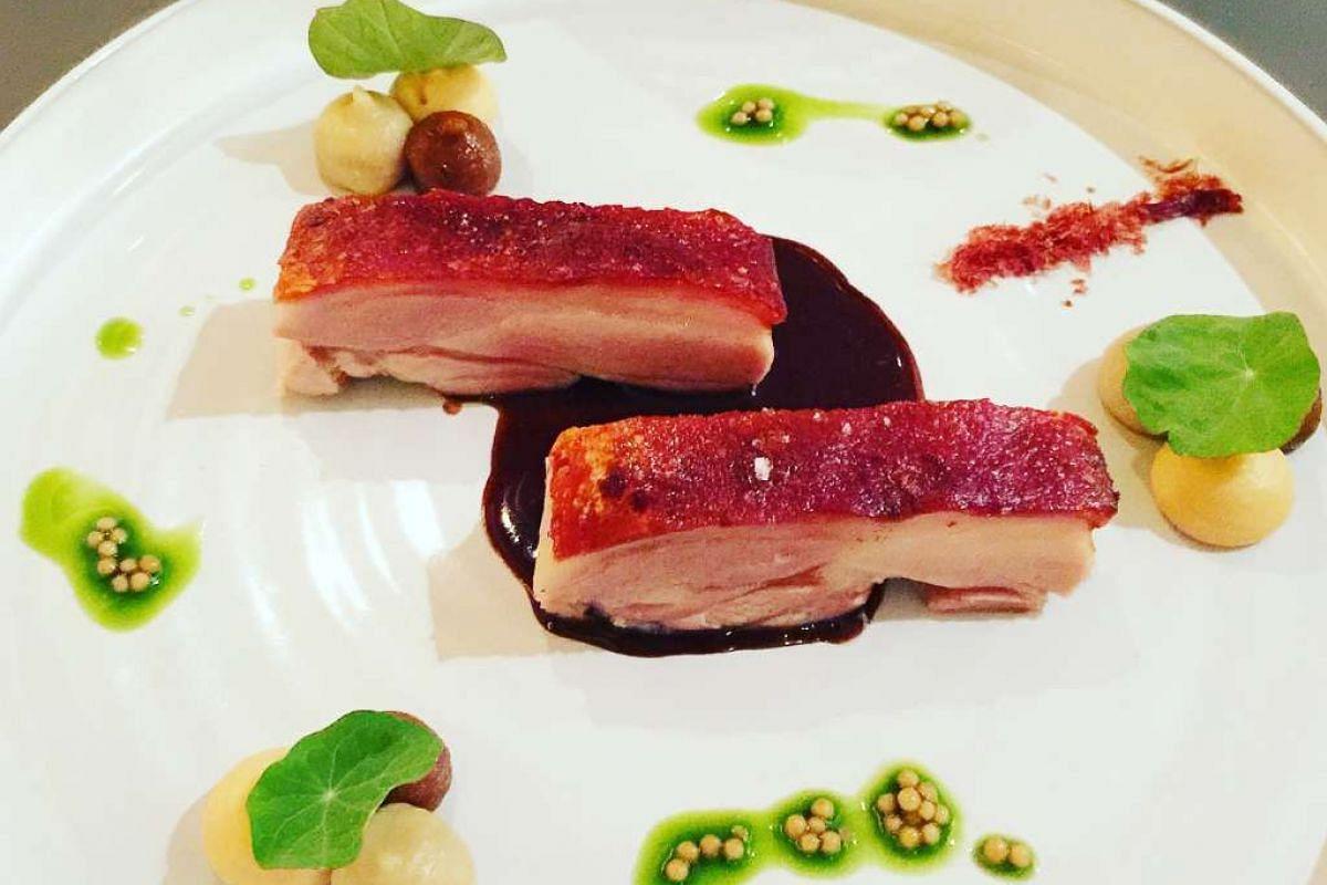 Crispy suckling pork belly from Alma by Juan Amador at Goodwood Park Hotel.