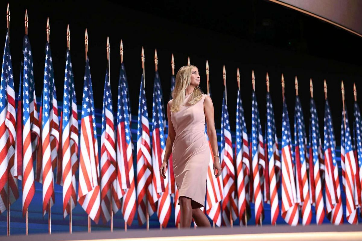 Ivanka Trump, daughter of Republican Presidential Nominee Donald Trump, exits the stage after speaking during the Republican National Convention in Cleveland, Ohio, on July 21.