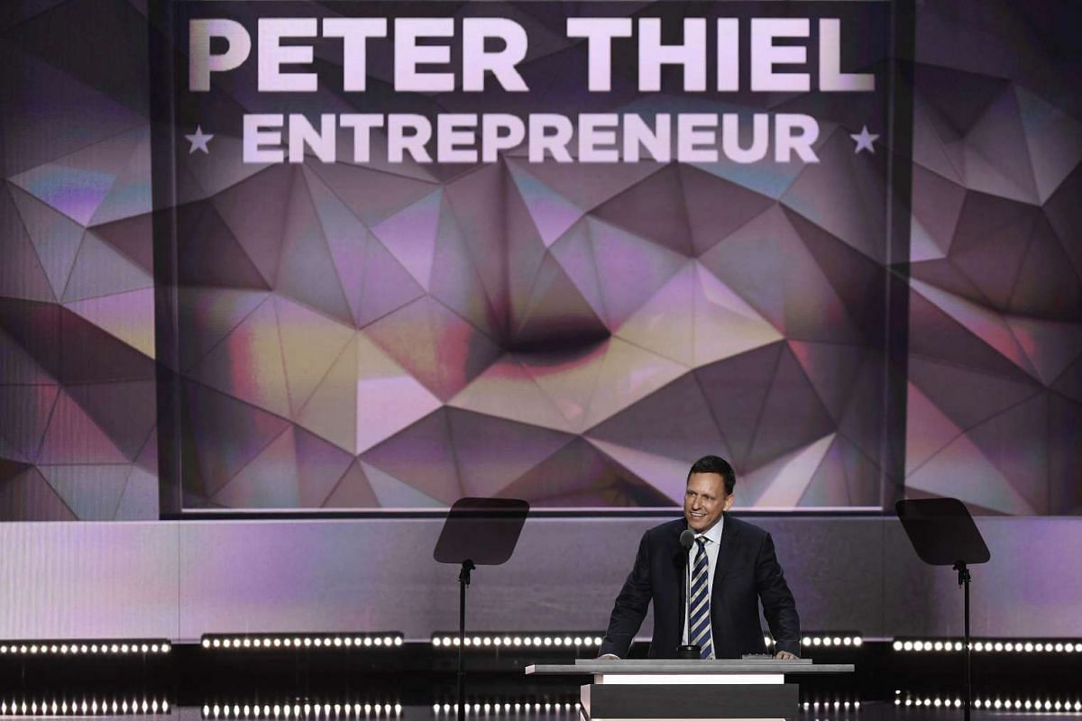 Peter Thiel, co-founder of PayPal Inc., speaks during the Republican National Convention in Cleveland, Ohio, on July 21.