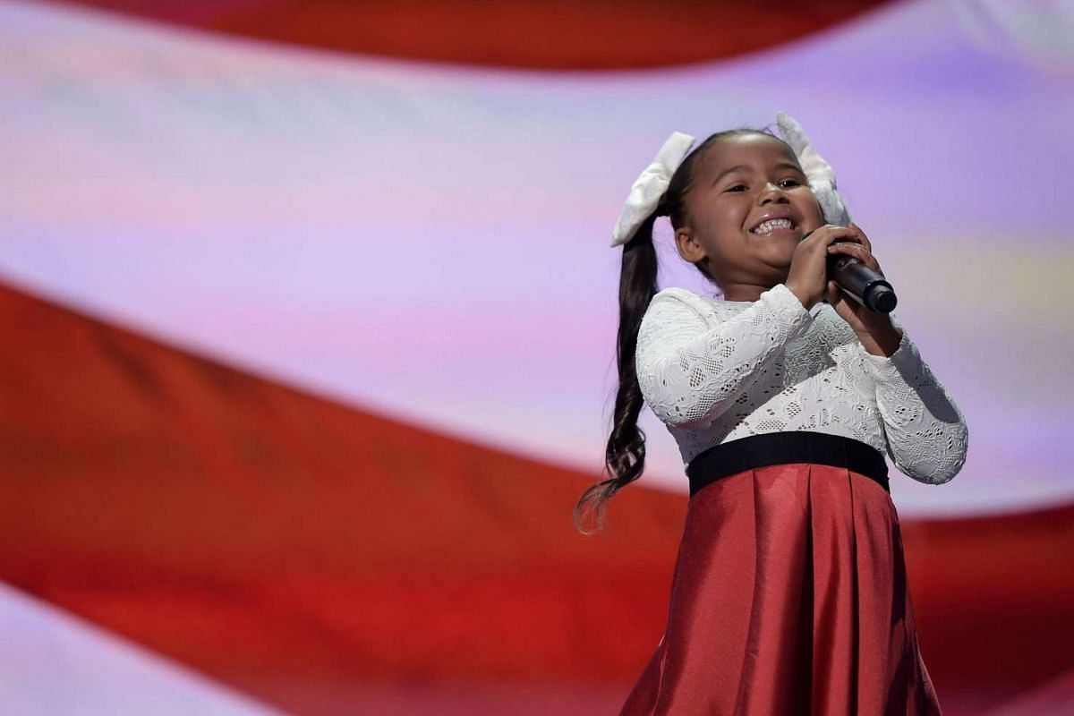 Singer Heavenly Joy sings during at the Republican National Convention at the Quicken Loans Arena in Cleveland, Ohio on July 21.