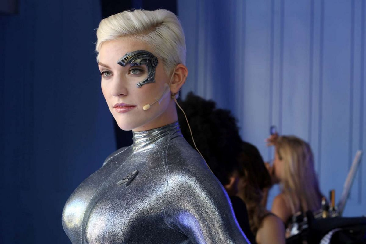 A woman plays the part of Star Trek character Seven of Nine during Comic-Con International 2016 in San Diego, California on July 21.