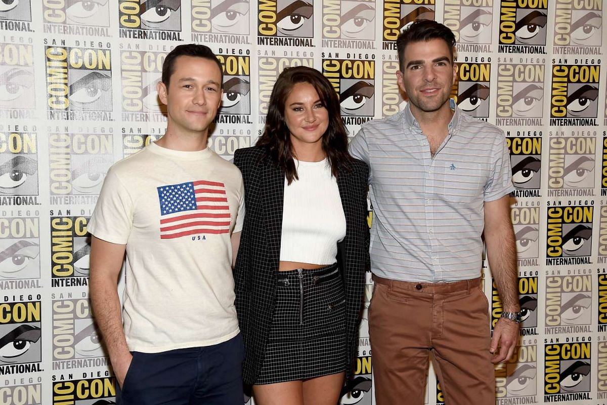 """(Left to right) Actors Joseph Gordon-Levitt, Shailene Woodley and Zachary Quinto attend the """"Snowden"""" press line during Comic-Con International 2016 at Hilton Bayfront on July 21."""