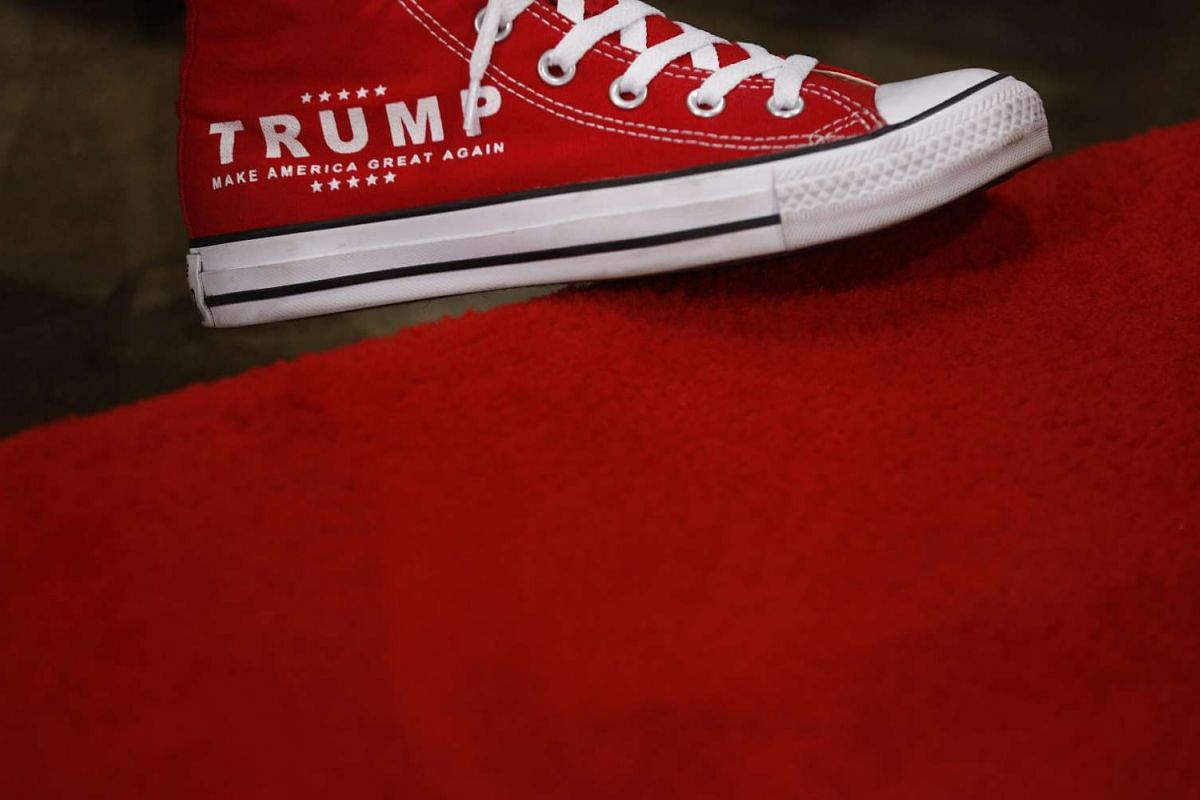 A delegate's shoes in support of Donald Trump seen at the Republican National Convention in Cleveland, Ohio on July 20.