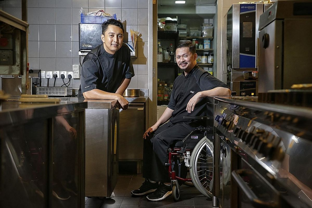 Executive chef Muhammad Haikal Johari (left) and chef de cuisine Muhammad Sufian Zaini (far left) will run the one-Michelin- starred Alma by Juan Amador when its French chef leaves. (From top) Chef Malcolm Lee of Candlenut restaurant, chef Jason Tan