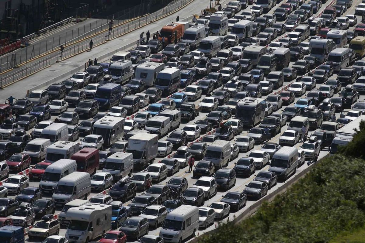 Lines of traffic queue to enter the port of Dover on the south coast of England on July 24.