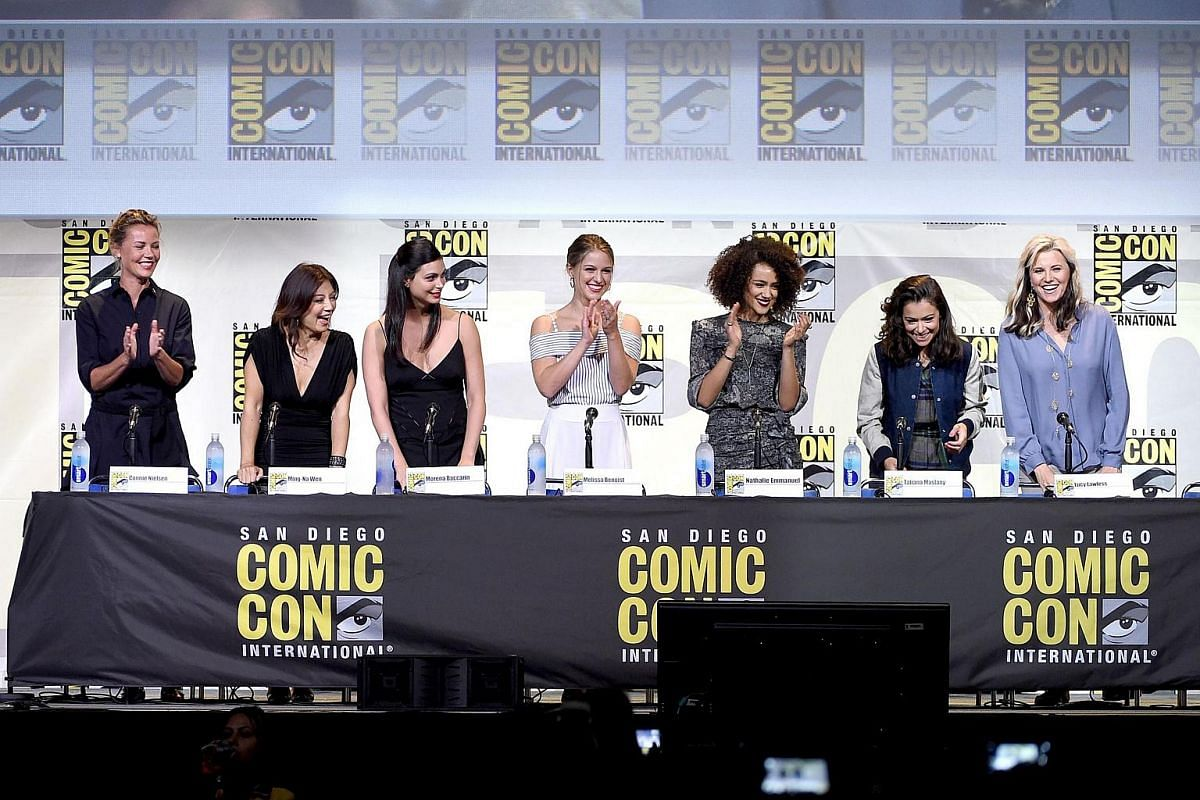(From left) Actresses Connie Nielsen, Ming-Na Wen, Morena Baccarin, Melissa Benoist, Nathalie Emmanuel, Tatiana Maslani and Lucy Lawless attend the Entertainment Weekly's Women Who Kick Ass event during Comic-Con International 2016 at San Diego Conve