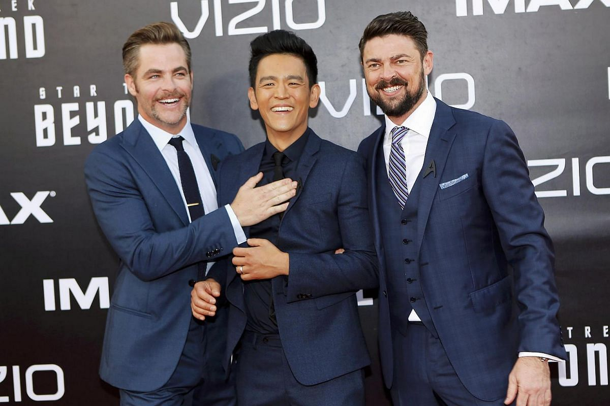 Actors Chris Pine (left), John Cho (centre) and Karl Urban arrive for the world premiere of Star Trek Beyond at Comic Con in San Diego, California, US, on July 20.