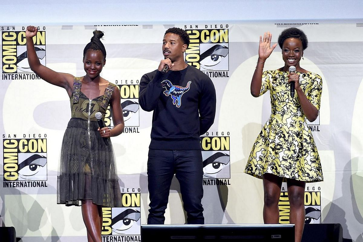 (From left) Actors Lupita Nyong'o, Michael B. Jordan and Danai Gurira attend the Marvel Studios presentation during Comic-Con International 2016 at San Diego Convention Center on July 23 in San Diego, California.