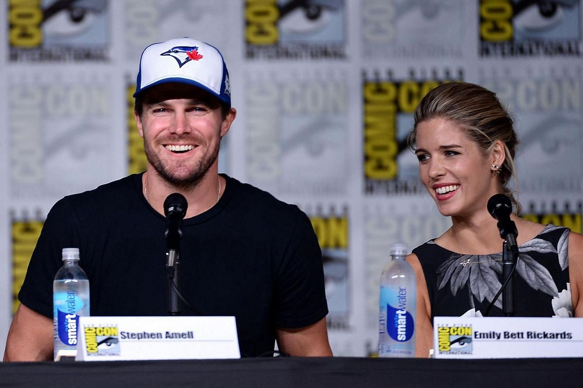 Actors Stephen Amell (left) and Emily Bett Rickards attend the Arrow Special Video Presentation and Q&A Comic-Con International 2016 at San Diego Convention Center on July 23 in San Diego, California.
