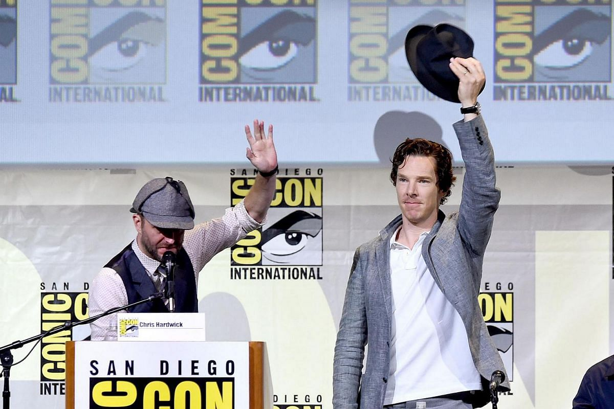 Moderator Chris Hardwick (left) and actor Benedict Cumberbatch attend the Sherlock panel during Comic-Con International 2016 at San Diego Convention Center on July 24 in San Diego, California.