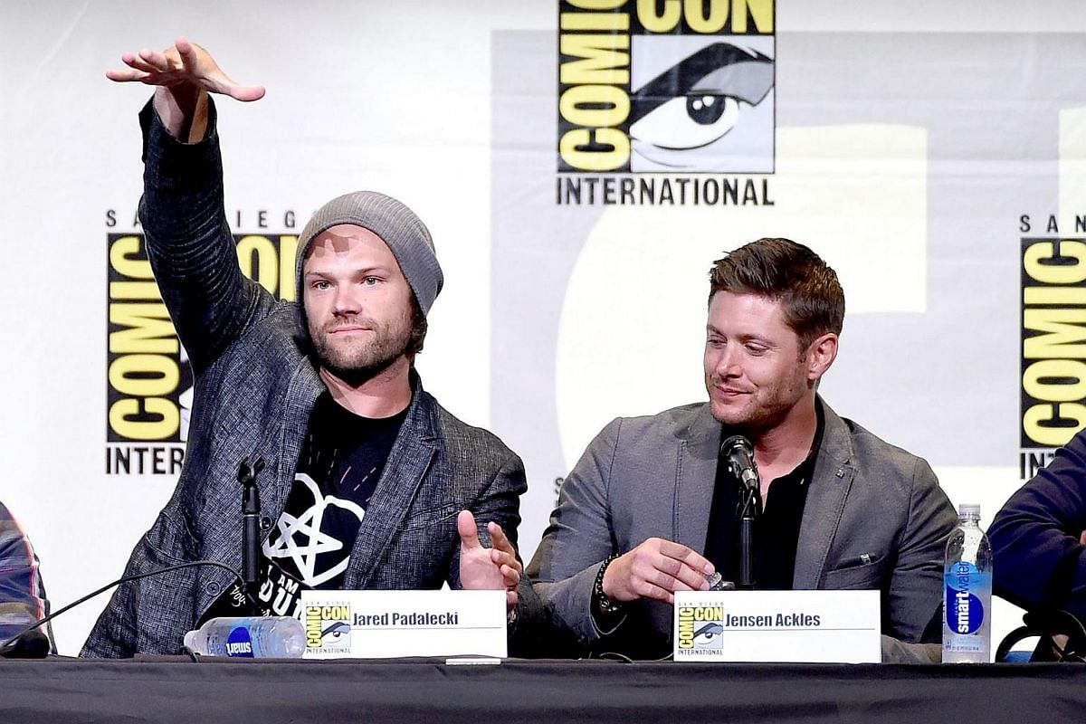Actors Jared Padalecki (left) and Jensen Ackles attend the Supernatural Special Video Presentation And Q&A during Comic-Con International 2016 at San Diego Convention Center on July 24 in San Diego, California.