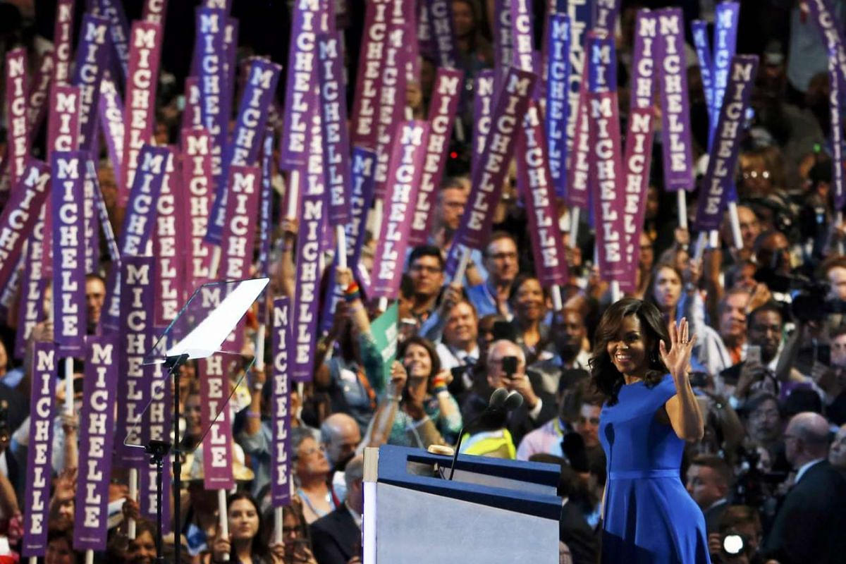 U.S. First lady Michelle Obama addresses the Democratic National Convention in Philadelphia, Pennsylvania, U.S. July 25, 2016. PHOTO: REUTERS