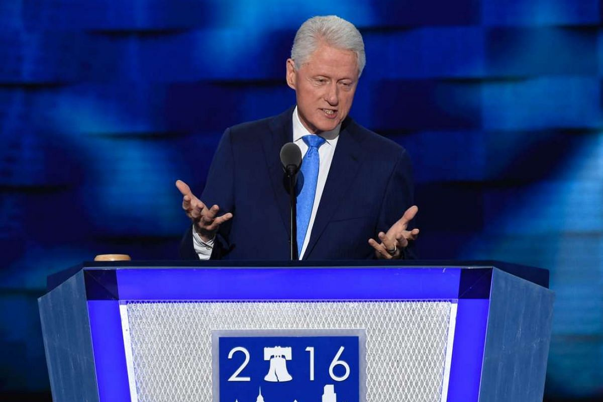 Former US president Bill Clinton addresses the second day of the Democratic National Convention at the Wells Fargo Center on July 26, 2016 in Philadelphia, Pennsylvania.