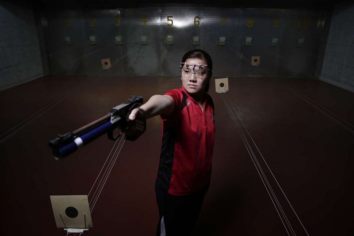 Teo Shun Xie at Catholic Junior College's shooting range, where she first started.