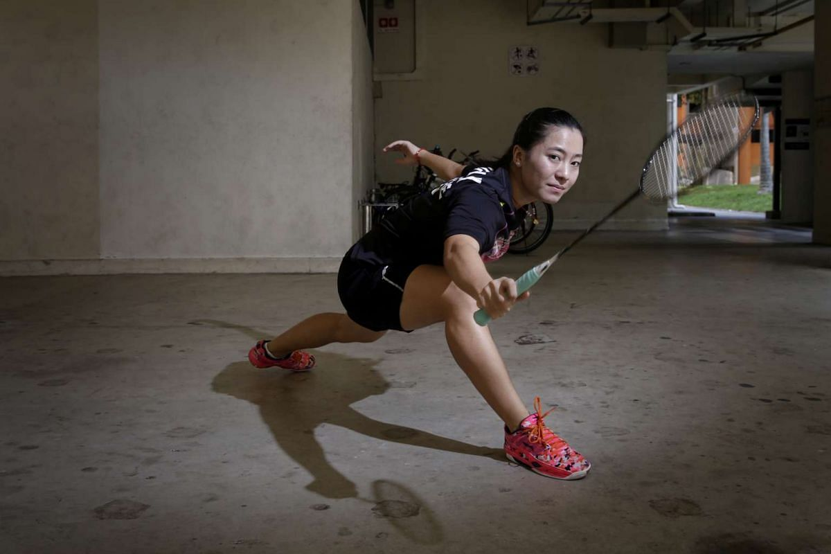 Singapore's shuttler Liang Xiaoyu, who will be making her Olympic debut in Rio, training at the void deck in Marsiling Crescent, where the 20-year-old has been sharpening her badminton techniques since 2007.