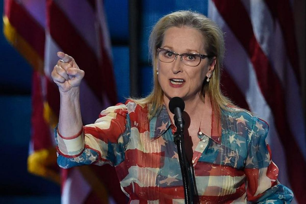 Actress Meryl Streep gets patriotic, sporting a shirt printed with the American flag, at her appearance at the convention.