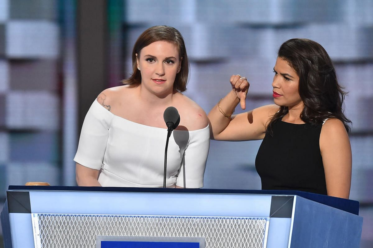 Actress/writer Lena Dunham (left) and actress America Ferrera, both longtime supporters of Democratic candidate Hillary Clinton, slammed Republican candidate Donald Trump for his sexism and racism in their speeches.
