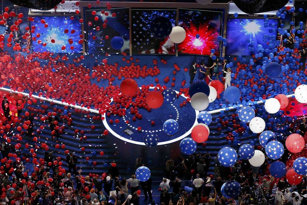 Balloons drop after Democratic presidential nominee Hillary Clinton accepted the nomination on the fourth and final night at the Democratic National Convention in Philadelphia, Pennsylvania, US on July 28.