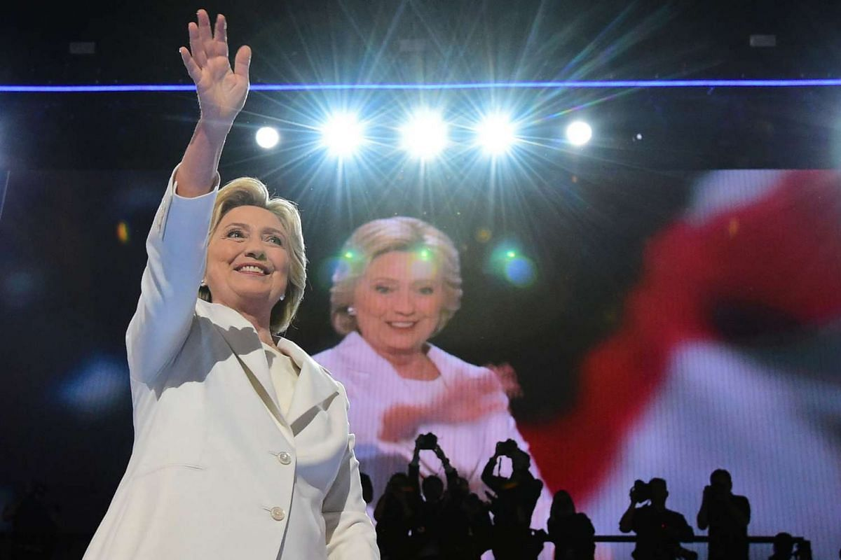 Presidential nominee Hillary Clinton gestures at the fourth and final day of the Democratic National Convention in Philadelphia, Pennsylvania, on July 28, 2016.