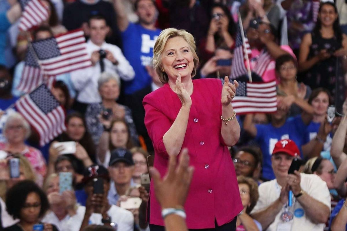 Democratic presidential candidate Hillary Clinton holds a rally a day after accepting the Democratic Party's nomination.