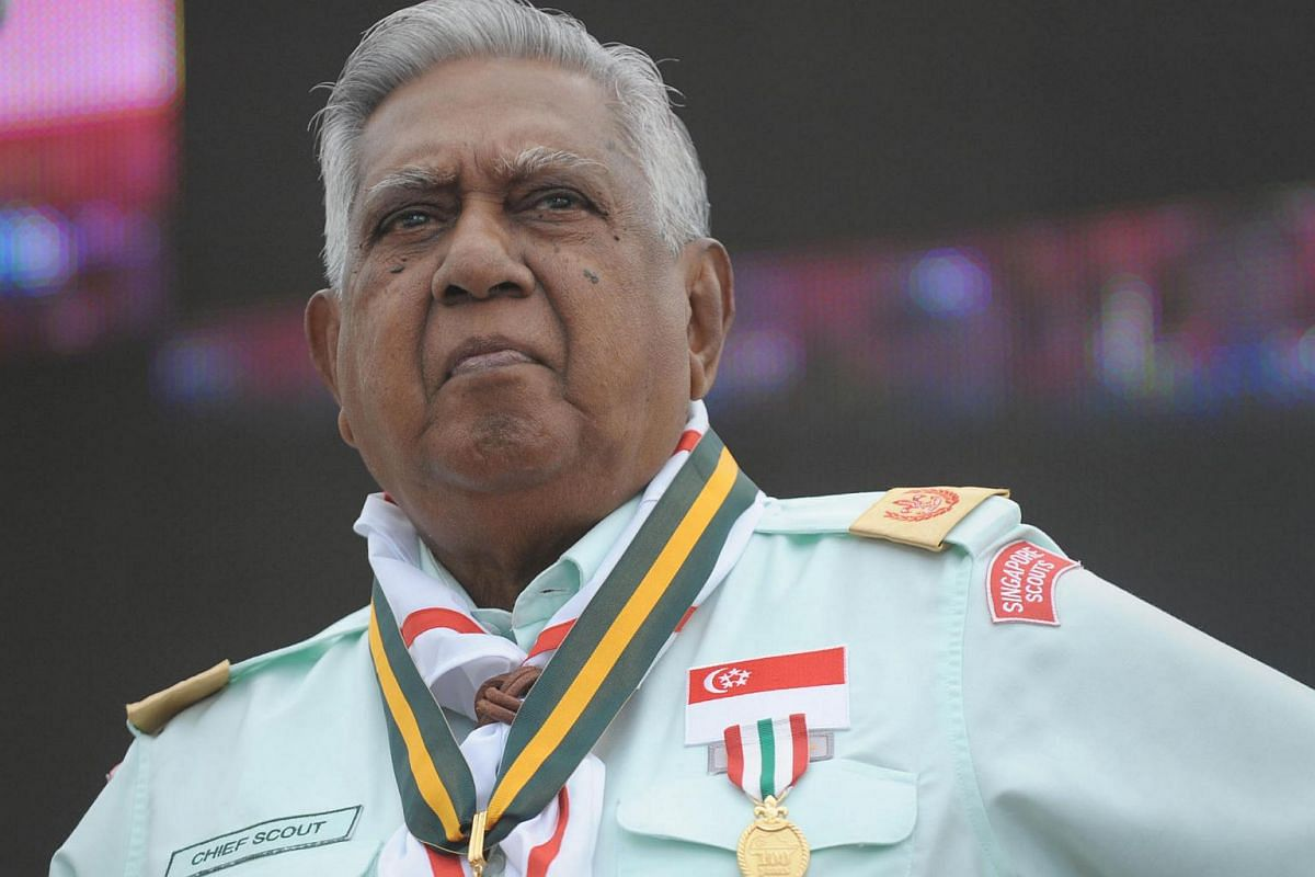 Mr S R Nathan, in his role as Chief Scout of Singapore, opens the 100th Anniversary Jamboree of the Singapore Scout Association in December 2010.