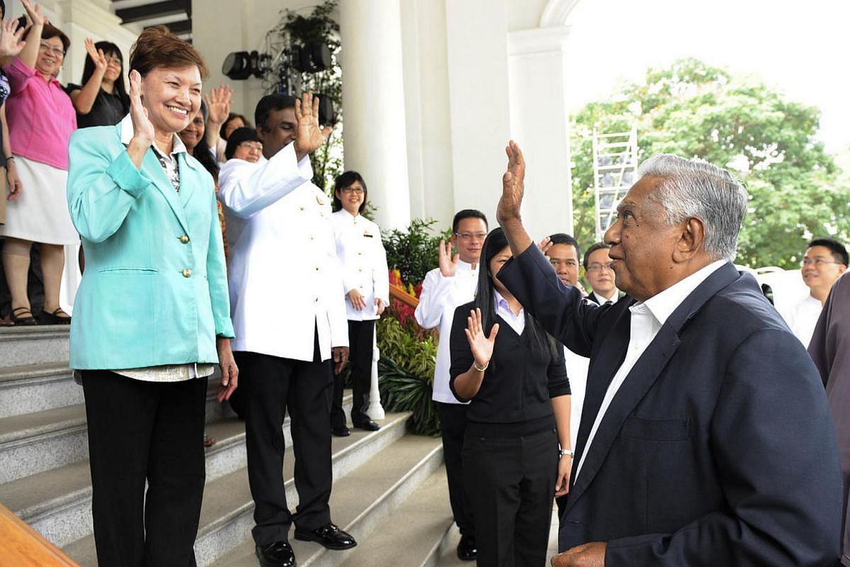 Mr Nathan waves to the 30 staff who worked for him at the Istana as he bade farewell on his last day in office.