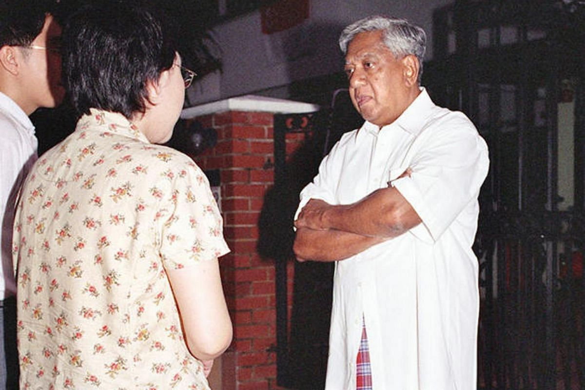 Mr S R Nathan stands outside his residence on Aug 18, 1999, before his nomination as President.