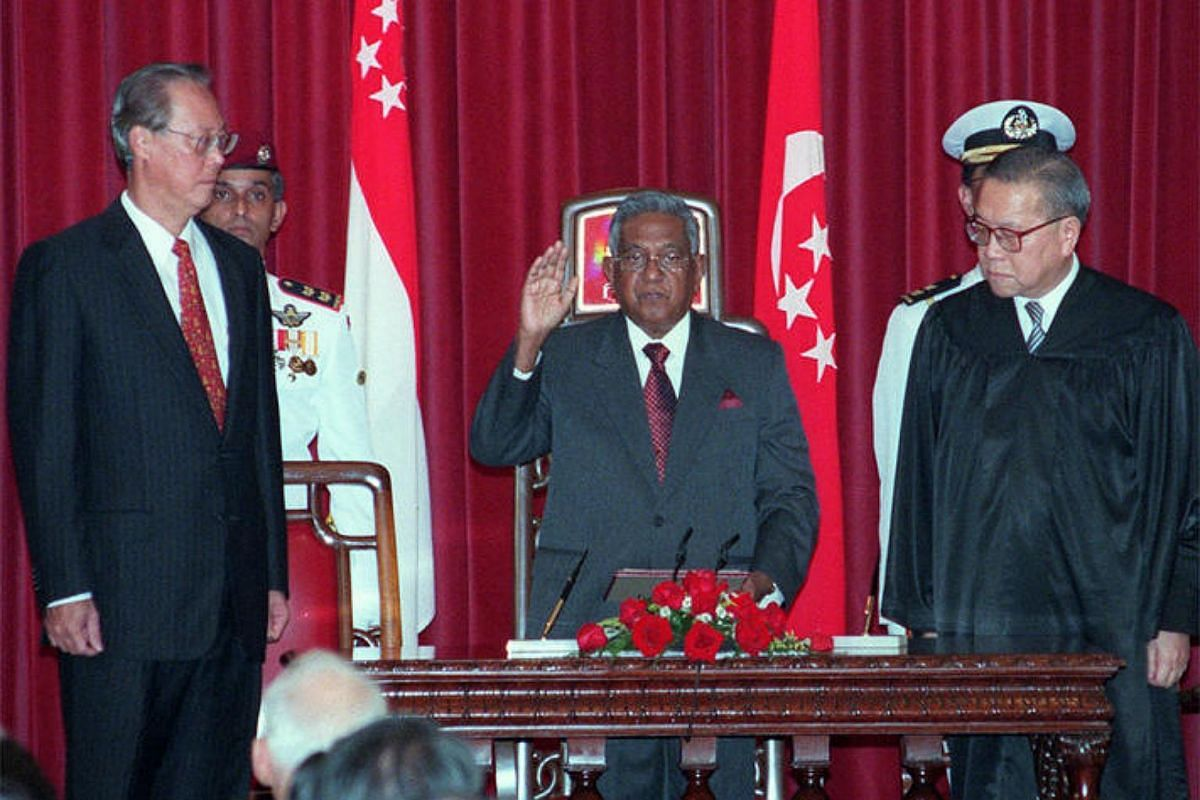 Mr S R Nathan sworn in as Singapore's sixth President on Sept 1, 1999, as then Prime Minister Goh Chok Tong (left) looks on.