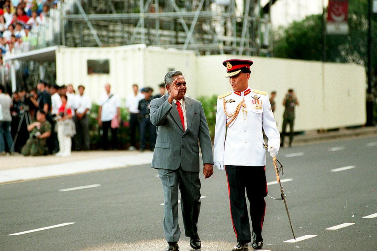 Mr S R Nathan attends his first National Day Parade as Singapore's head of state on Aug 9, 2000.