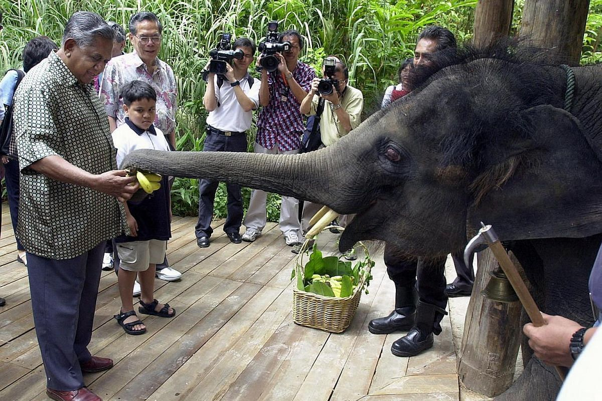 Mr S R Nathan, with grandson Kiron Cheong, feeding an elephant at the Singapore Zoo in January 2002.