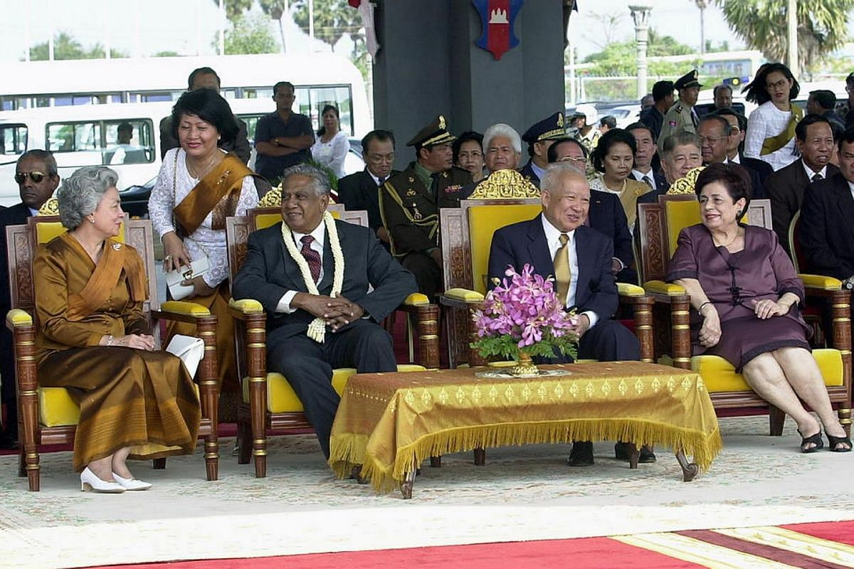 Mr and Mrs S R Nathan in Cambodia for a state visit in February 2003.
