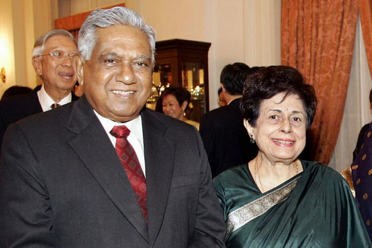 Mr Nathan with his wife Urmila in 2004.