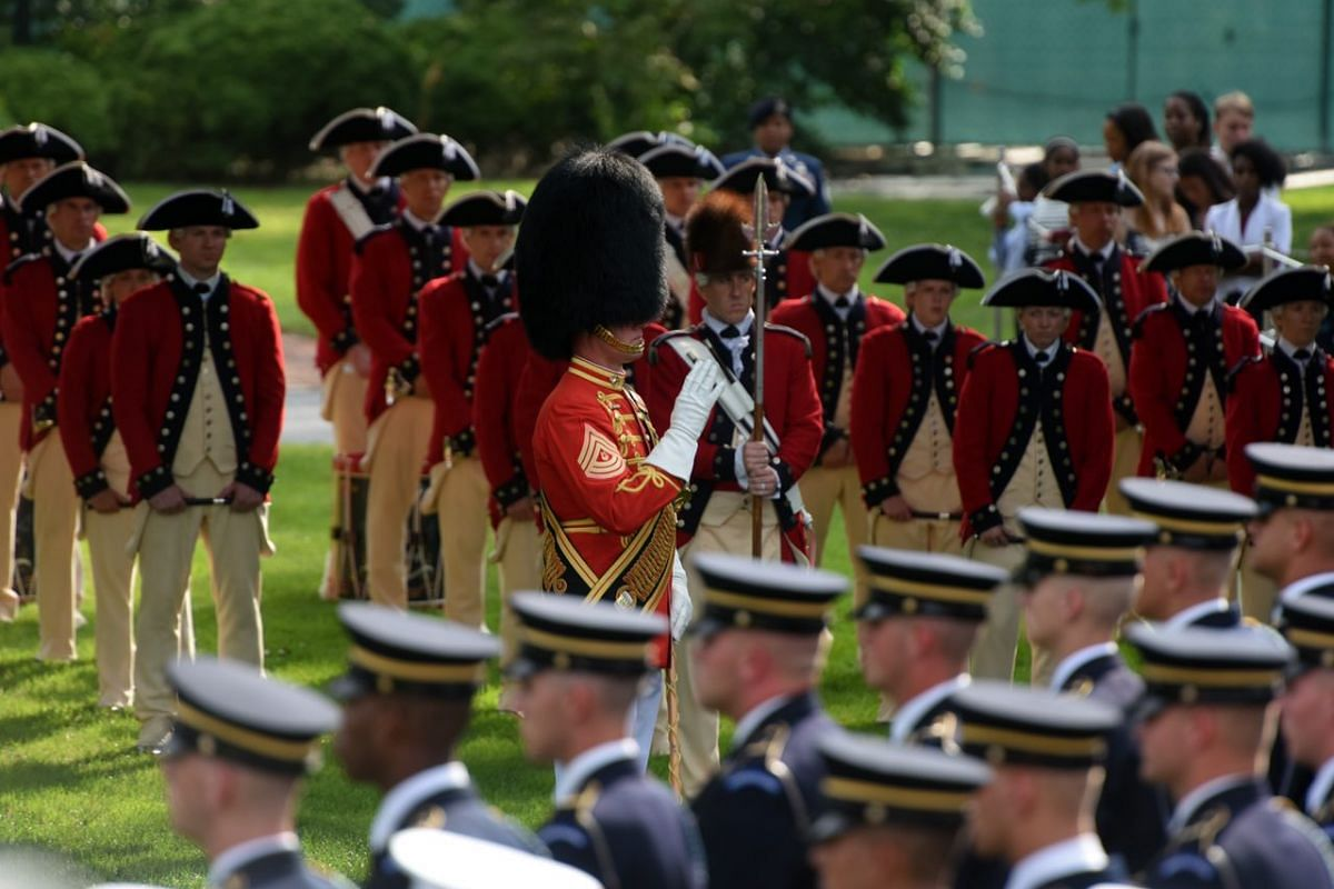 A band plays during the arrival ceremony at the White House in Washington, US, on August 2.