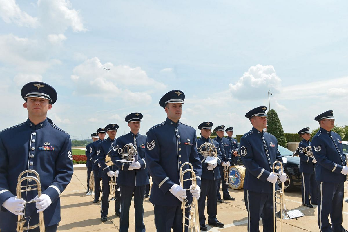 A band from the US Air Force awaits the arrival of Singapore PM Lee Hsien Loong at the Pentagon on August 1.