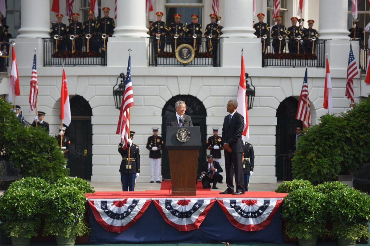 Prime Minister Lee Hsien Loong speaks during the State Arrival ceremony on the South Lawn of the White House in Washington, DC, on August 2.
