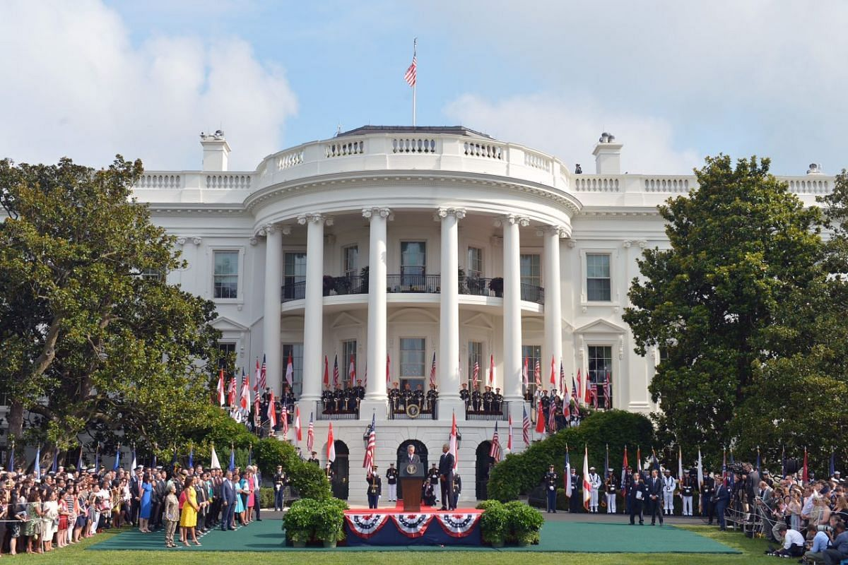 Prime Minister Lee Hsien Loong speaks during the State Arrival ceremony on the South Lawn of the White House in Washington, DC, August 2.